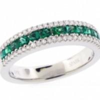 18k White Gold Diamond and Emerald Band