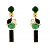 Onyx and Quartz Earrings