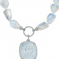 Intaglio on Aquamarine Necklace
