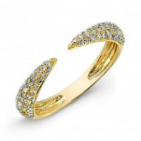 Open Yellow Gold Pave Ring