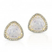 Moonstone and Diamond Studs